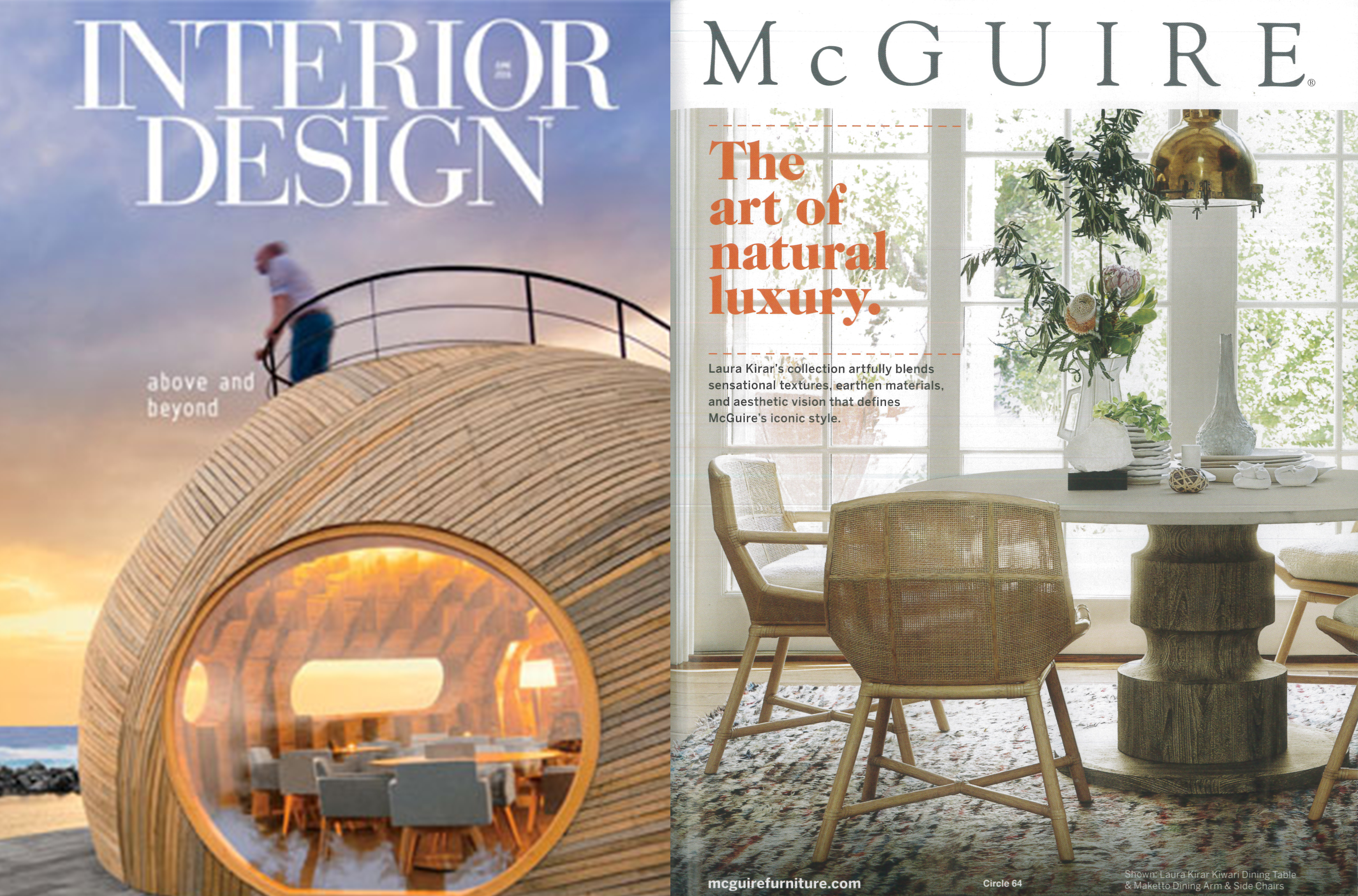 laura kirar, interior design, interior design magazine, mcguire, chairs, maketto, woven chairs, chic, stylish